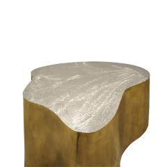 Silas Seandel Silas Seandel Pair of Coffee Tables in Brass and Brushed Steel 1980s signed  - 1125334