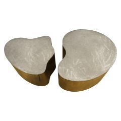 Silas Seandel Silas Seandel Pair of Coffee Tables in Brass and Brushed Steel 1980s signed  - 1125340