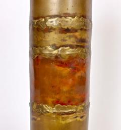 Silas Seandel Substantial Silas Seandel Torched Mixed Metal Brutalist Table Lamp 1974 - 1603415