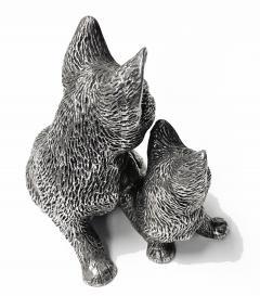 Silver 925 Cat and Kitten Sculpture 1960 s  - 2131090