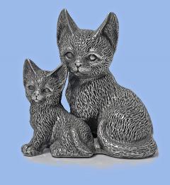 Silver 925 Cat and Kitten Sculpture 1960 s  - 2131091