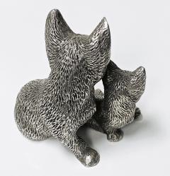 Silver 925 Cat and Kitten Sculpture 1960 s  - 2131092