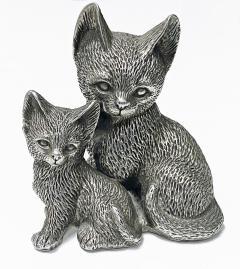 Silver 925 Cat and Kitten Sculpture 1960 s  - 2131093