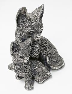 Silver 925 Cat and Kitten Sculpture 1960 s  - 2131094
