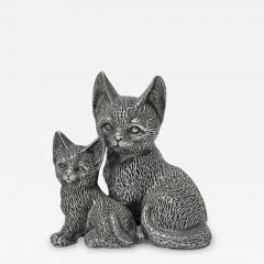 Silver 925 Cat and Kitten Sculpture 1960 s  - 2132058