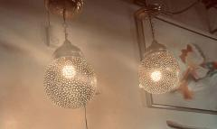 Silver Round Modern Moroccan Pendant or Chandelier a Pair - 1604440