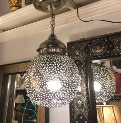 Silver Round Modern Moroccan Pendant or Chandelier a Pair - 1604446