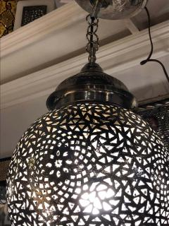 Silver Round Modern Moroccan Pendant or Chandelier a Pair - 1604447