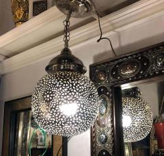 Silver Round Modern Moroccan Pendant or Chandelier a Pair - 1604449