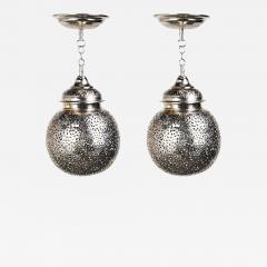 Silver Round Modern Moroccan Pendant or Chandelier a Pair - 1605249