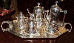 Silver Tea Coffee Set WMF Art Nouveau with Tray - 1342782
