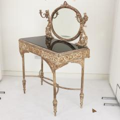 Silvered bronze and mirrored antique French dressing table - 2057842