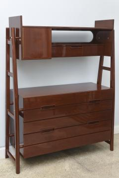 Silvio Cavatorta Italian Modern Mahogany Chest of Drawers with Bookcase Super Structure - 280601