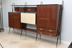 Silvio Cavatorta Italian Modern Mahogany and Brass Bar Cabinet or Bookcase Silvio Cavatorta - 388242