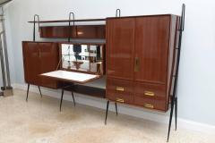 Silvio Cavatorta Italian Modern Mahogany and Brass Bar Cabinet or Bookcase Silvio Cavatorta - 388243