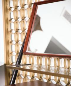 Silvio Cavatorta Pair of Italian Modern Mahogany Brass and Iron Sideboards Silvio Cavatorta - 379655