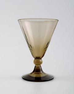 Simon Gate Art Deco Art Glass 4 p Liqueur set with carafe on a tray smoke colored - 1330367