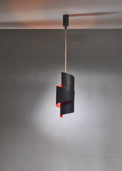 Simon Henningsen Black And Orange Swirl Pendant Lamp By Simon Henningsen Denmark 1960s - 1185702