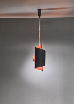 Simon Henningsen Black And Orange Swirl Pendant Lamp By Simon Henningsen Denmark 1960s - 1185703