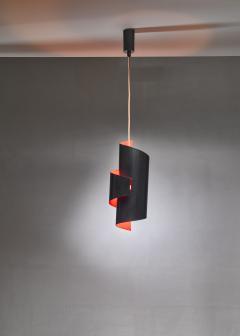 Simon Henningsen Black And Orange Swirl Pendant Lamp By Simon Henningsen Denmark 1960s - 1185705