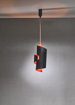 Simon Henningsen Black And Orange Swirl Pendant Lamp By Simon Henningsen Denmark 1960s - 1185706