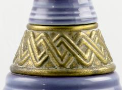 Single Ceramic Table Lamp In Amethyst And Brass - 89018