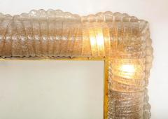 Single Textured Light Smoke Taupe Murano Glass and Brass Mirror Lighted Italy - 2004362