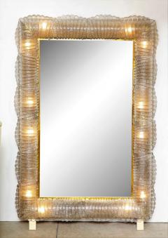 Single Textured Light Smoke Taupe Murano Glass and Brass Mirror Lighted Italy - 2004365
