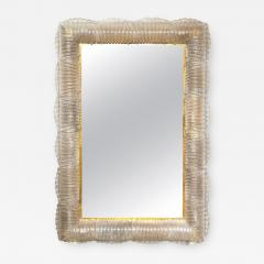 Single Textured Light Smoke Taupe Murano Glass and Brass Mirror Lighted Italy - 2010040