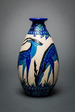 Single Vase with Deer Designed by Charles Catteau at Boch Fr res Keramis - 1905799