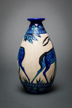 Single Vase with Deer Designed by Charles Catteau at Boch Fr res Keramis - 1905826