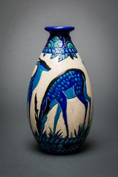 Single Vase with Deer Designed by Charles Catteau at Boch Fr res Keramis - 1905829