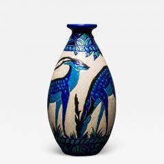 Single Vase with Deer Designed by Charles Catteau at Boch Fr res Keramis - 1907977