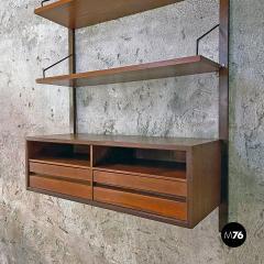 Single teak wall bookcase 1960s - 2102773