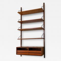 Single teak wall bookcase 1960s - 2106130