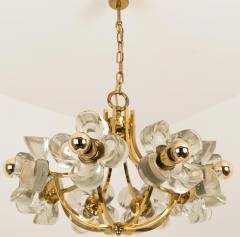 Sische Simon and Schelle Sische Glass and Brass Chandelier 1960s Modernist Design Kalmar Style - 1027335