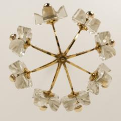 Sische Simon and Schelle Sische Glass and Brass Chandelier 1960s Modernist Design Kalmar Style - 1027337