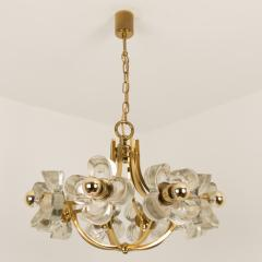 Sische Simon and Schelle Sische Glass and Brass Chandelier 1960s Modernist Design Kalmar Style - 1027338