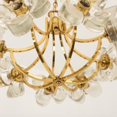 Sische Simon and Schelle Sische Glass and Brass Chandelier 1960s Modernist Design Kalmar Style - 1027339