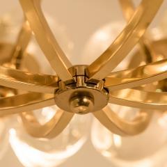 Sische Simon and Schelle Sische Glass and Brass Chandelier 1960s Modernist Design Kalmar Style - 1027341