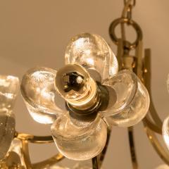 Sische Simon and Schelle Sische Glass and Brass Chandelier 1960s Modernist Design Kalmar Style - 1027342