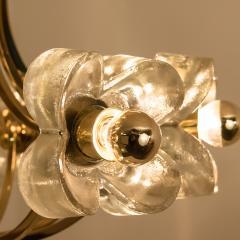 Sische Simon and Schelle Sische Glass and Brass Chandelier 1960s Modernist Design Kalmar Style - 1027345