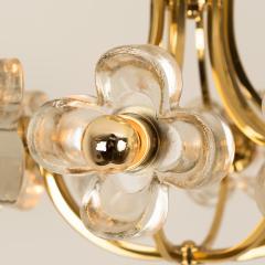 Sische Simon and Schelle Sische Glass and Brass Chandelier 1960s Modernist Design Kalmar Style - 1027346