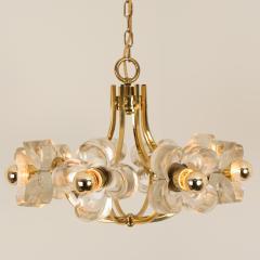 Sische Simon and Schelle Sische Glass and Brass Chandelier 1960s Modernist Design Kalmar Style - 1027347