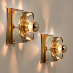 Sische Simon and Schelle Sische Glass and Brass Chandelier 1960s Modernist Design Kalmar Style - 1027348