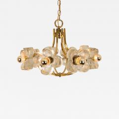 Sische Simon and Schelle Sische Glass and Brass Chandelier 1960s Modernist Design Kalmar Style - 1029009