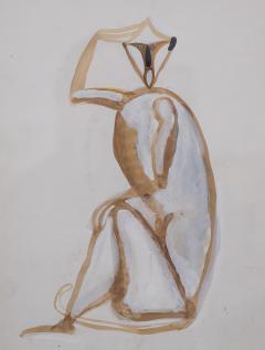 Sitting monkey gouache by Henri Samouilov - 1979060