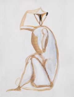 Sitting monkey gouache by Henri Samouilov - 1979061