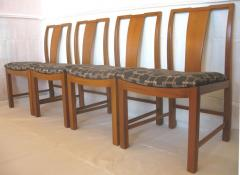 Six Walnut Dining Chairs Asian Modern - 570064