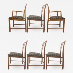 Six Walnut Dining Chairs Asian Modern - 793266